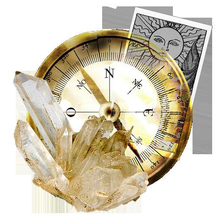 Crystal, tarot-kort og kompas